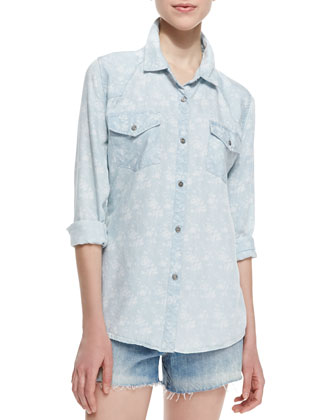 Carter Floral Print Chambray Shirt, Light Blue