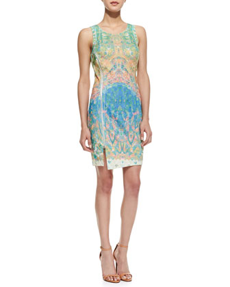 Mixed Medallion Print Side Zip Dress