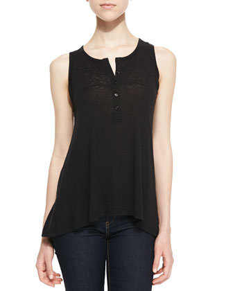 Half-Button Slub Tee, Black