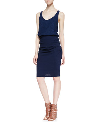 Racerback Blouson Ruched Combo Dress, Dark Wash
