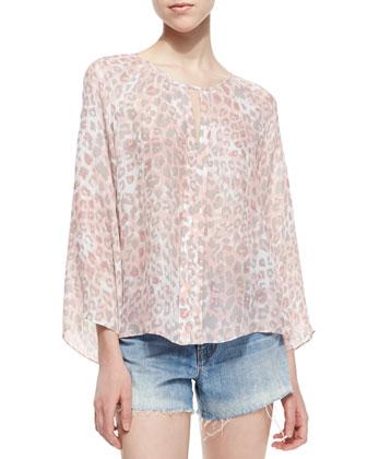 Roseland Cougar Print Keyhole Top, Pink