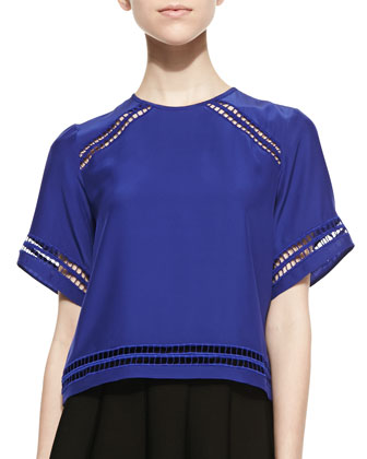Colton Open-embroidered Trim Top, Royal