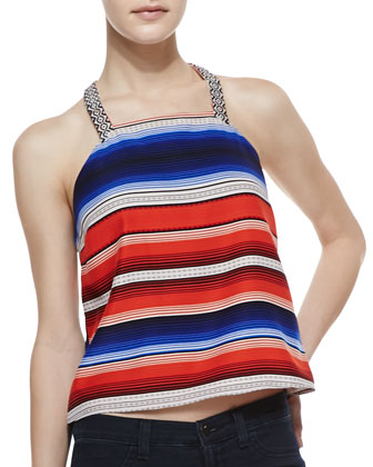 Justina Striped Halter Tank Top