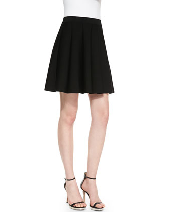 Zoey Box Pleated Skirt, Black