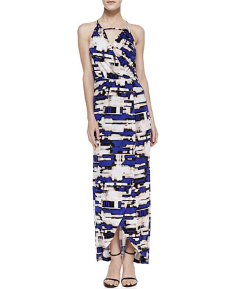 Hillington Printed Halter Maxi Dress, Purple