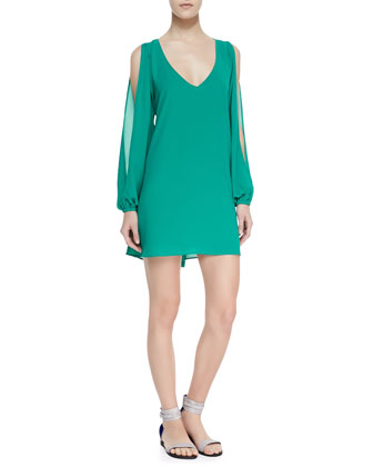 Gracie Chiffon Cold-Shoulder Shift Dress, Greenlake