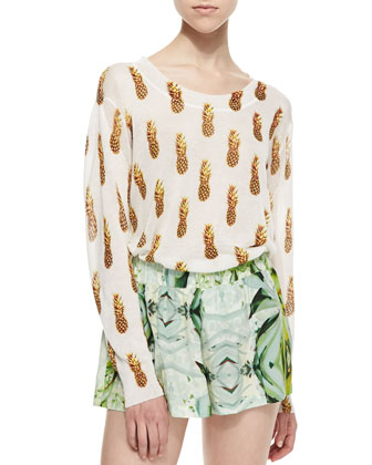 Pineapple-Print Slub-Knit Cropped Sweater, Bronze