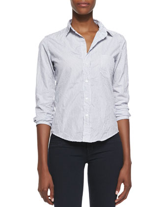 Barry Pinstripe Button-Down Shirt, White/Blue