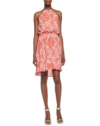 Biarritz Mixed-Print Sundress, Persimmon