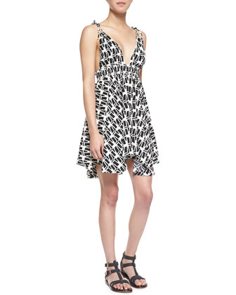 Tie-Shoulder Print Handkerchief Dress, Black/White
