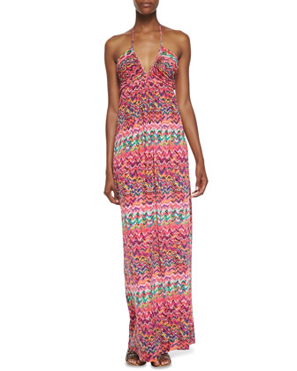 Zigzag Print Halter Maxi Dress