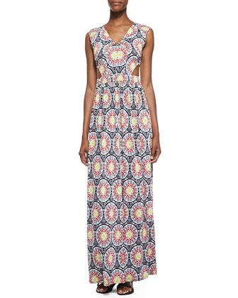 Cutout Medallion Print Maxi Dress