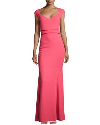 Bonded Crepe Cap-Sleeve Gown, Raspberry