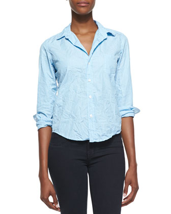 Barry Pinstripe Button-Down Shirt, Light Blue/White