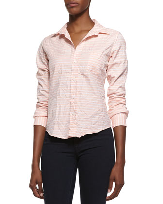 Barry Striped Button-Down Shirt, Peach/White