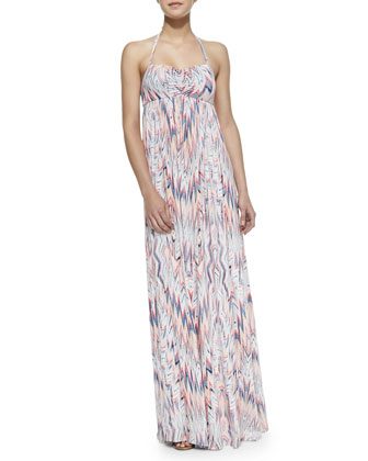 Xander Zigzag Print Maxi Dress, Ruby