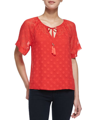 Sabine Swiss Dot Silk Top, Ruby Red
