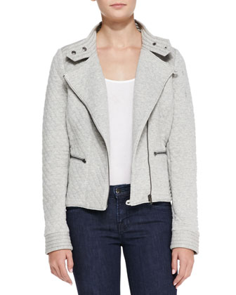 Quilted Fleece Moto Jacket, Gray
