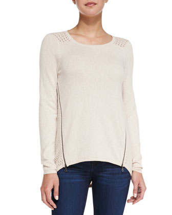 Open-Knit Side Zip Sweater, Canvas Heather