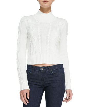 Cable-Knit Mock Turtleneck Crop Sweater, Winter White