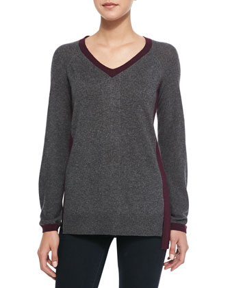 Contrast Trimmed Cashmere-Blend Sweater, Storm/Bordeaux