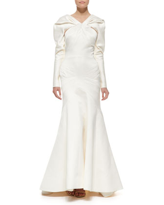 Long-Sleeve Duchesse Satin Gown, Ivory