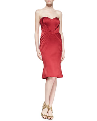 Strapless Satin Cocktail Dress