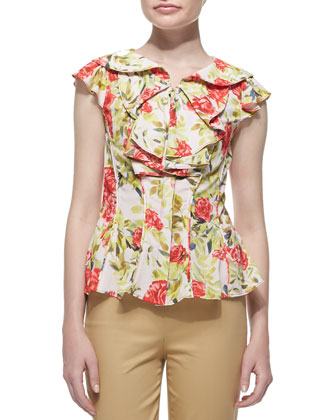 Floral-Print Jersey Ruffle Blouse