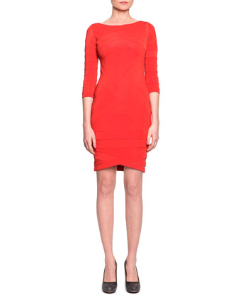 3/4-Sleeve Banded Jersey Dress, Red