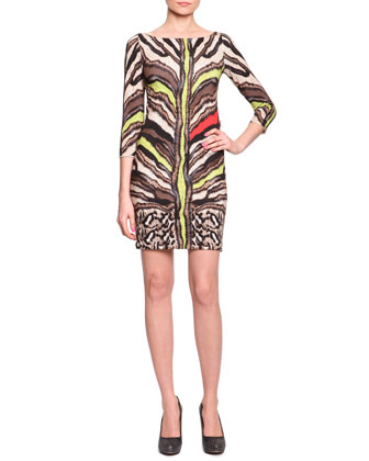 Short Tiger-Print Jersey Dress, Natural/Yellow