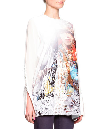 Sheer Exaggerated-Cuff Top, Off White/Multi