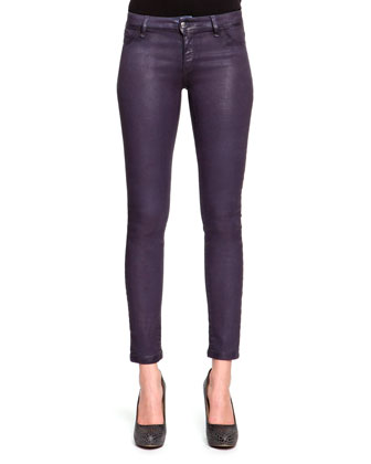 Laminated Cotton Slim Jeans, Petrol Denim
