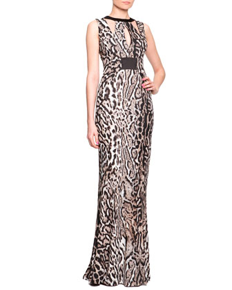 Harness Cutout Animal-Print Gown
