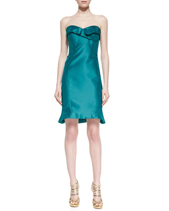 Strapless Folded Cocktail Dress, Teal