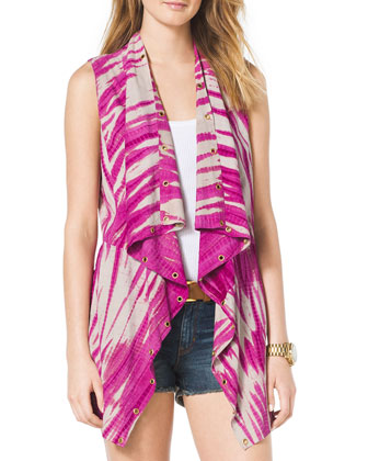Draped Grommet-Trim Linen Vest