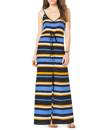 Striped Front-Slit Maxi Dress