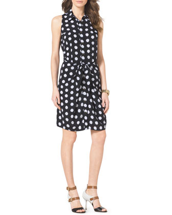 Knot-Waist Dotted Shirtdress