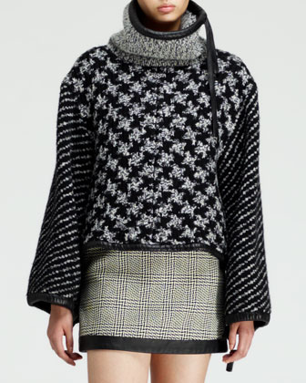 Oversized Mixed-Knit Pullover