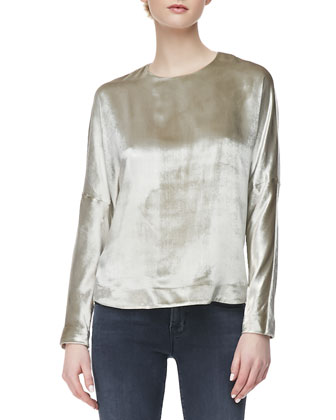 Aiah Metallic Leather Moto Jacket, Romy Long-Sleeve Velvet Top & 624 ...