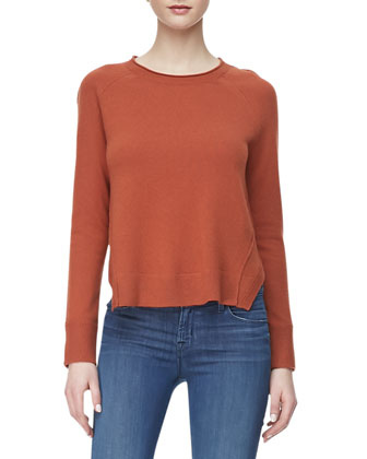 Eugenia Crewneck Cashmere Sweater, Raw Sienna