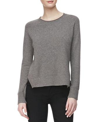 Eugenia Crewneck Cashmere Sweater, Armour Heather