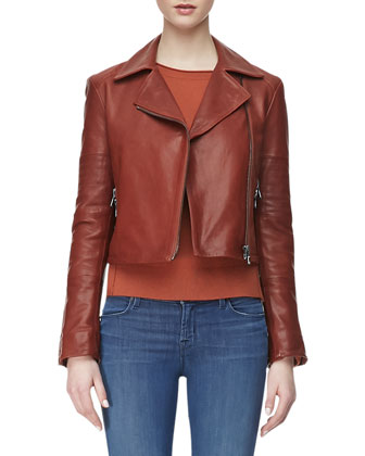 Aiah Zip-Front Leather Jacket, Eugenia Crewneck Cashmere Sweater & 624 ...