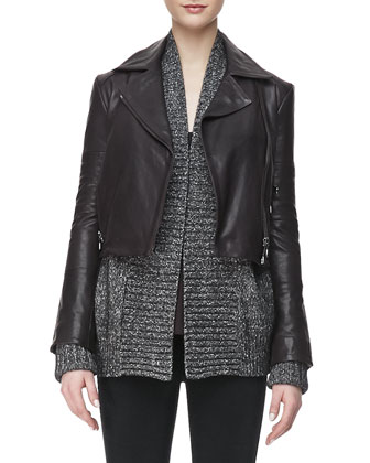 Aiah Leather Zip-Front Jacket, Nadja Thin-Strap Tank Top, Ivanka Marled ...