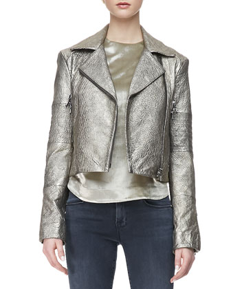 Aiah Metallic Leather Moto Jacket