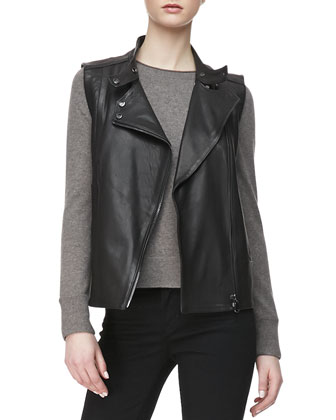 Madisyn Leather Vest, Eugenia Crewneck Cashmere Sweater & Maria High-Rise ...