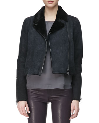 Lana Leather Jacket with Fur Collar