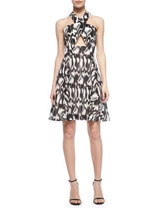 Bellicity Printed Cross-Neck Keyhole Dress