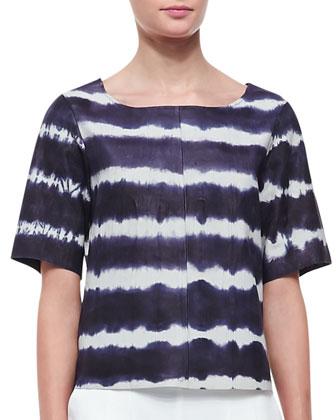 Memphis Tie-Dye Leather Short-Sleeve Top