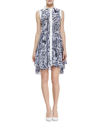 Allyson Paisley-Print High-Low Shirtdress