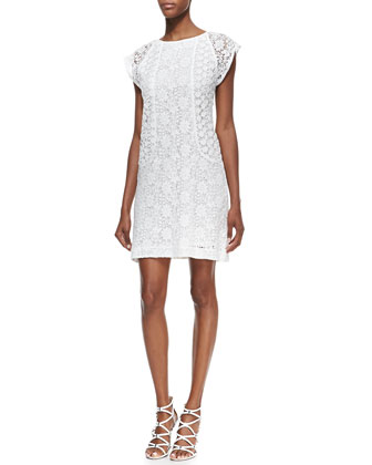 Clara Lace-Overlay Cap-Sleeve Dress